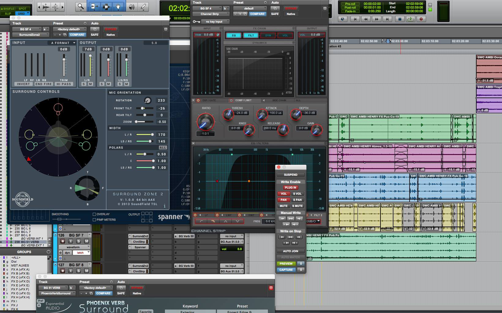 Ambisonics processing in film sound audio post production - click the image to see a larger version.