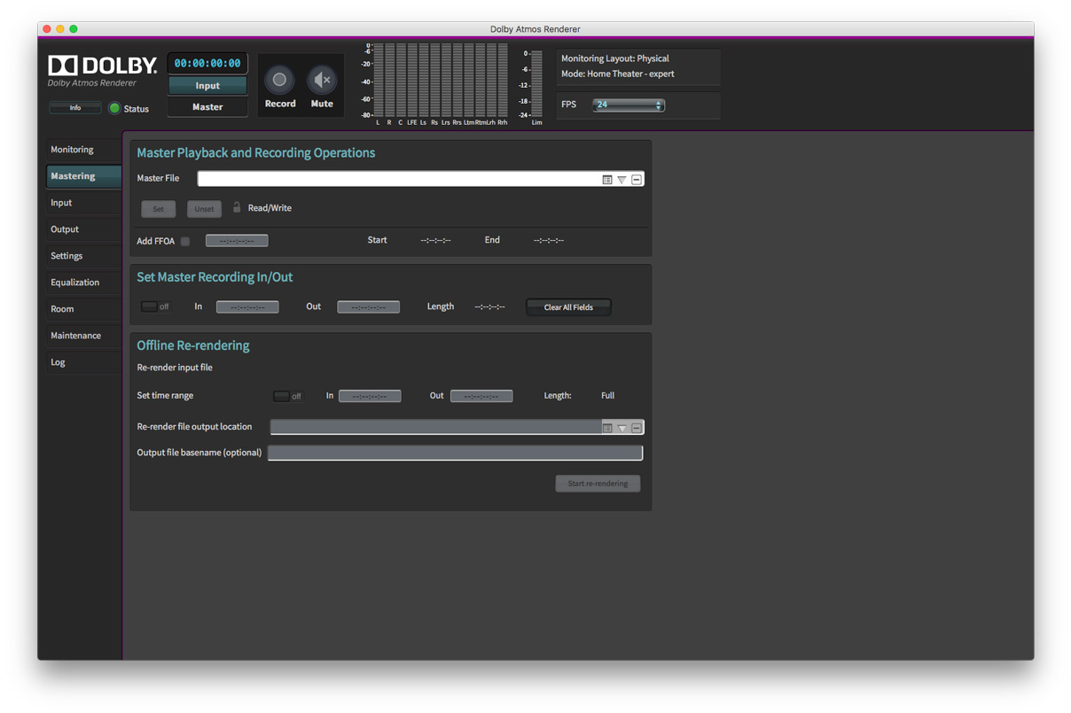 Dolby Atmos Production Suite Mastering Tab
