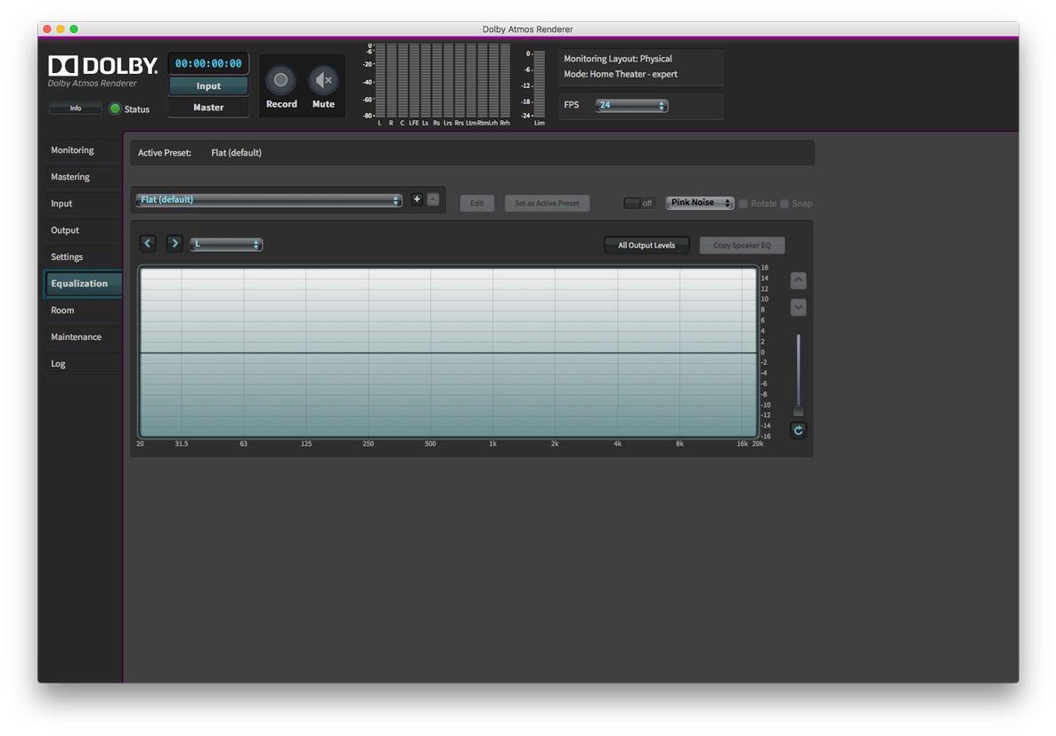 Dolby Atmos Production Suite EQ Tab