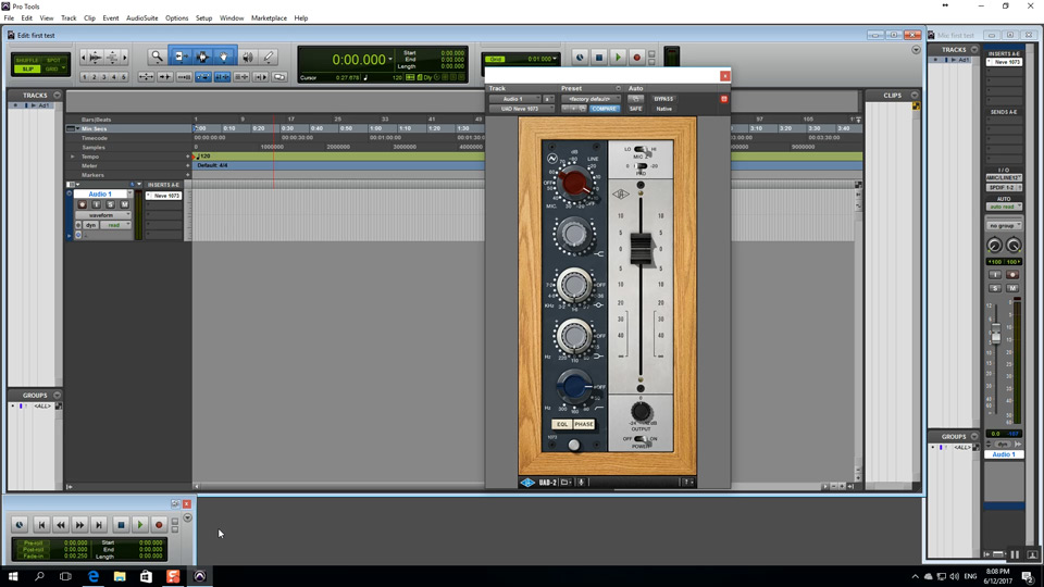 UAD 1073 Plug-in working in Pro Tools