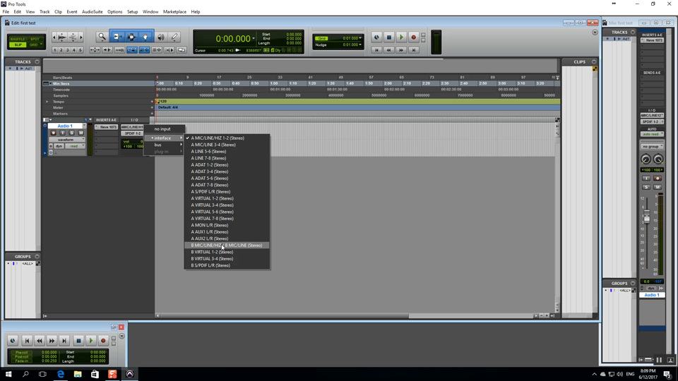 Inputs in Pro Tools