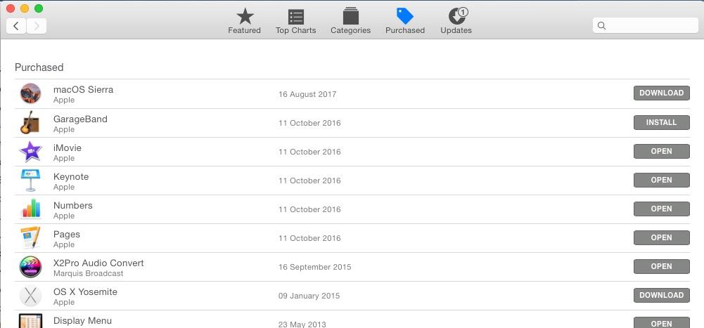 mac OS Sierra in The App Store