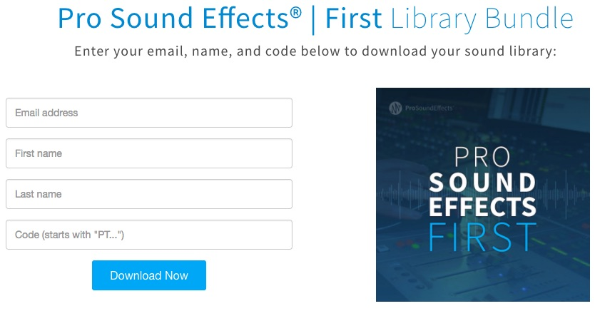 Pro Sound Effects Library Redeem page