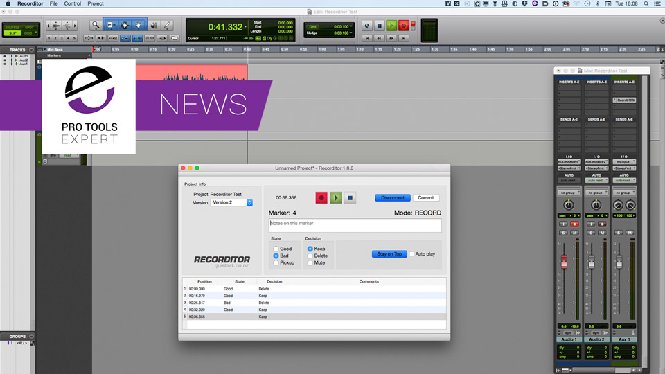 Quiet Art Release Recorditor - Log Your Script Record Sessions Whilst Recording In Pro Tools