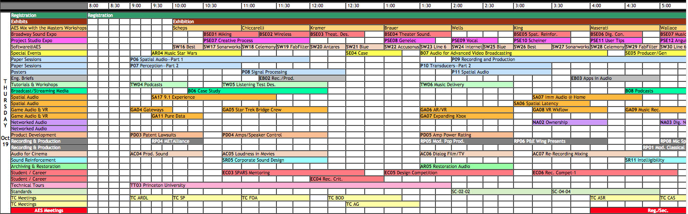 AES Convention timetable for Thursday 19th October 2017 - Click to see a larger version