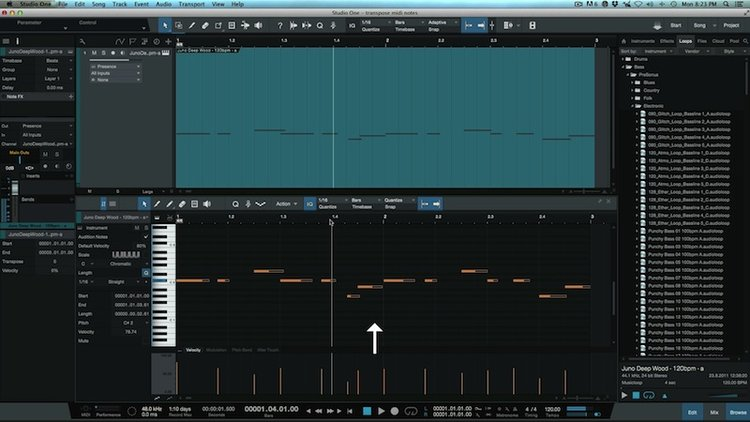 How To Quickly Transpose MIDI Notes In Studio One | Studio One