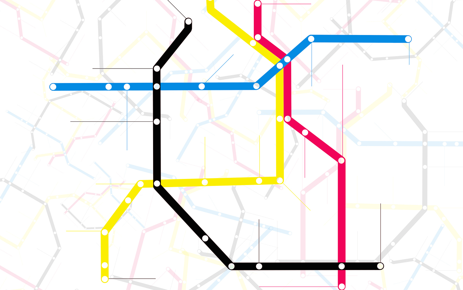 Subway map with grey streets and colored tubes