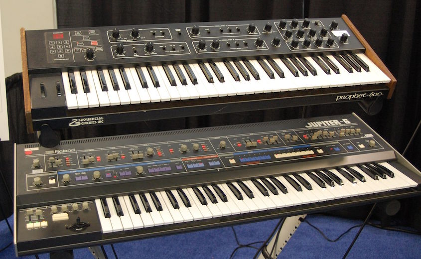 Sequential Prophet-600 above Roland Jupiter-6: the first two MIDI synths ever to be connected. From the MIDI Association's 30th anniversary display at NAMM 2013.