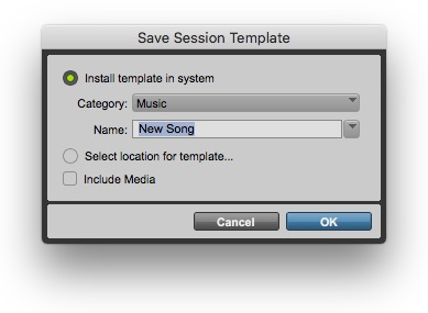 File > Save Session Template
