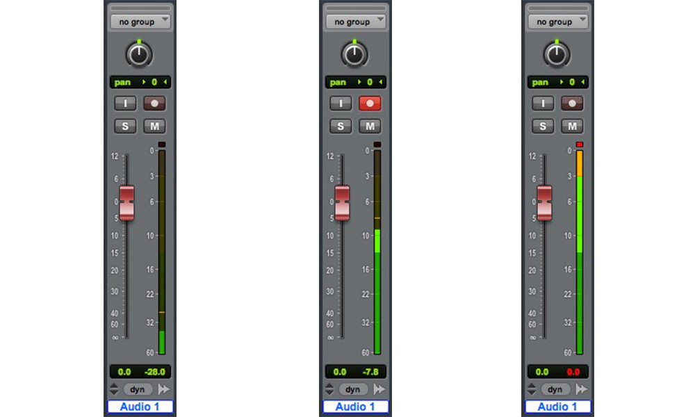 "The middle track shows what a safe recording level should look like in the Pro Tools Mixer. The tracks either side show a weak level and a level that is too ""hot"" which records as clipped audio"