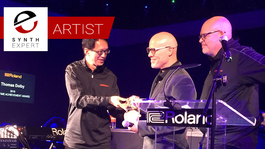 L to R: Roland CEO Jun-ichi Miki, electronic music legend Thomas Dolby, and Roland VP of Major Influencers Paul McCabe. Photo by Stephen Fortner.