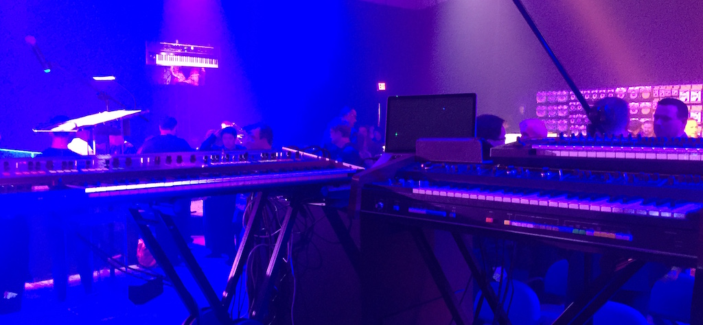 Thomas Dolby's stage setup at the Roland NAMM 2018 press event: Roland Jupiter-8 on left, Jupiter-4 on right. The rig also included a MacBook Pro running Logic, Keith McMillen QuNeo pad controller, and Roland A25 keyboard controller. Photo by Stephen Fortner.