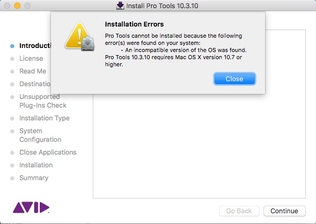 Trying to install Pro Tools 10 on a computer with macOS Sierra 10.12.6