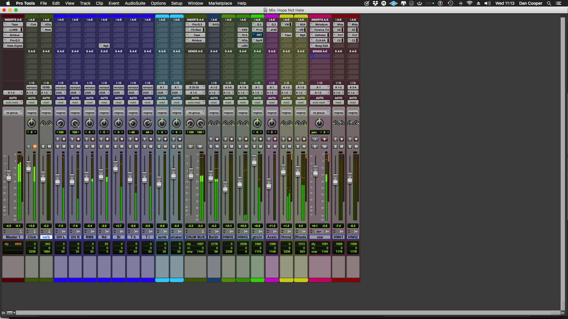 Mockup showing a mixture of narrow & wide tracks in the Pro Tools mix window