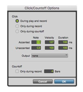 Click Countoff Options