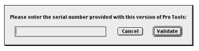 Pro Tools 5.0.1 serial number window