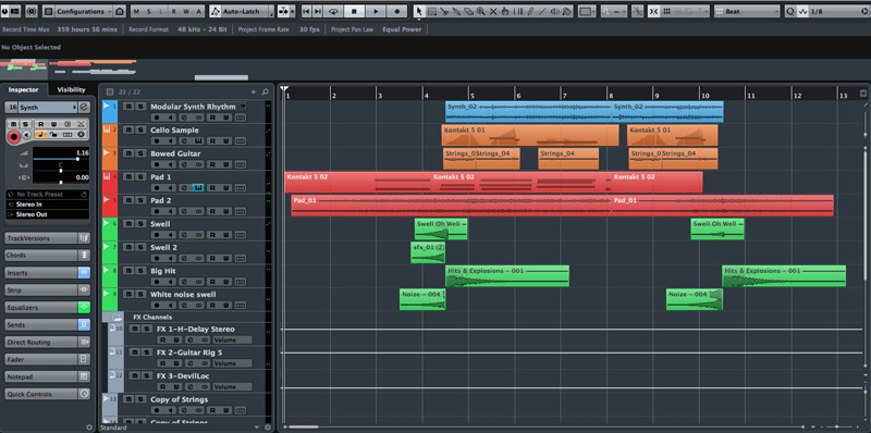 Here's the session with bowed guitar. Notice the small number of tracks. I try and make each sound as interesting as possible and not overdo it with the track count.