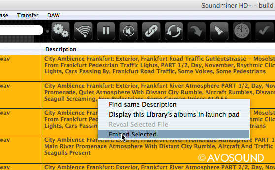Save metadata with Soundminer HD Plus: How to save Metadata with Soundminer HD Plus: The Embed Selected command (right click on your mouse) will write the data from the HD Plus browser into the audio file.