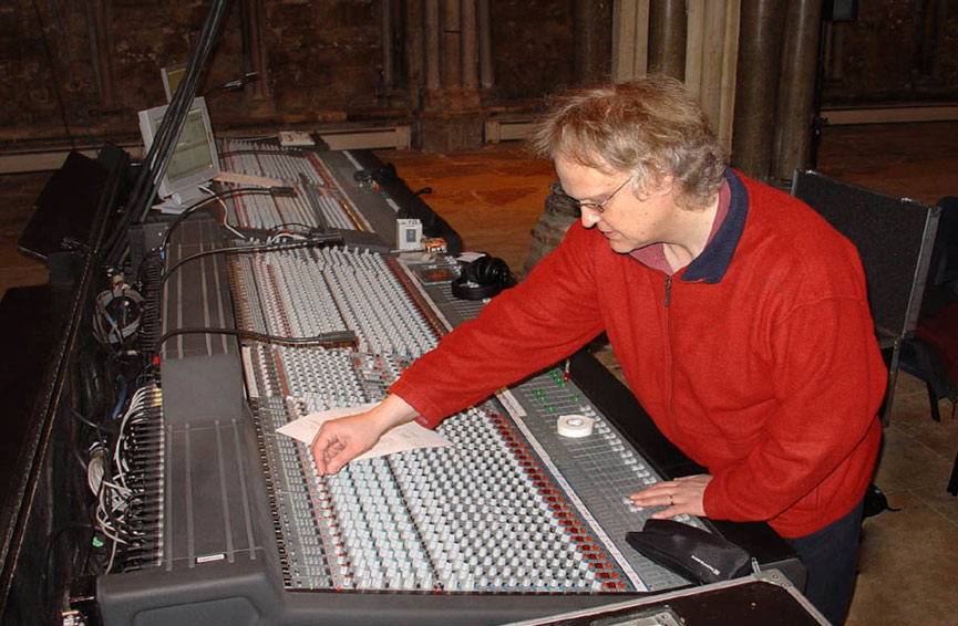 Mike Prepping A Live Mix at Lincoln Cathedral