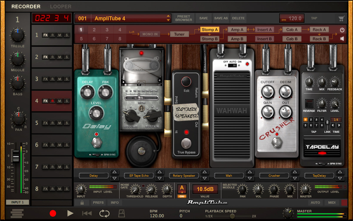 a screenshot of the IK Multimedia AmpliTube 4 standalone application
