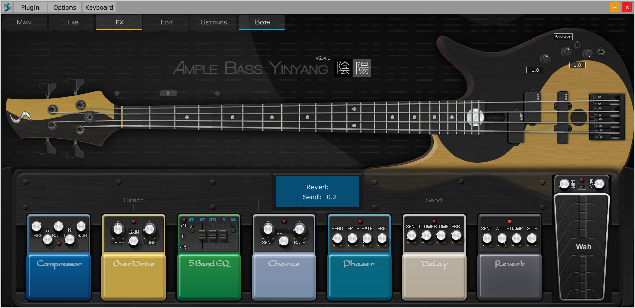 a screenshot of the Ample Sound Ample Bass Yinyang II USer Interface with Effect Pedals