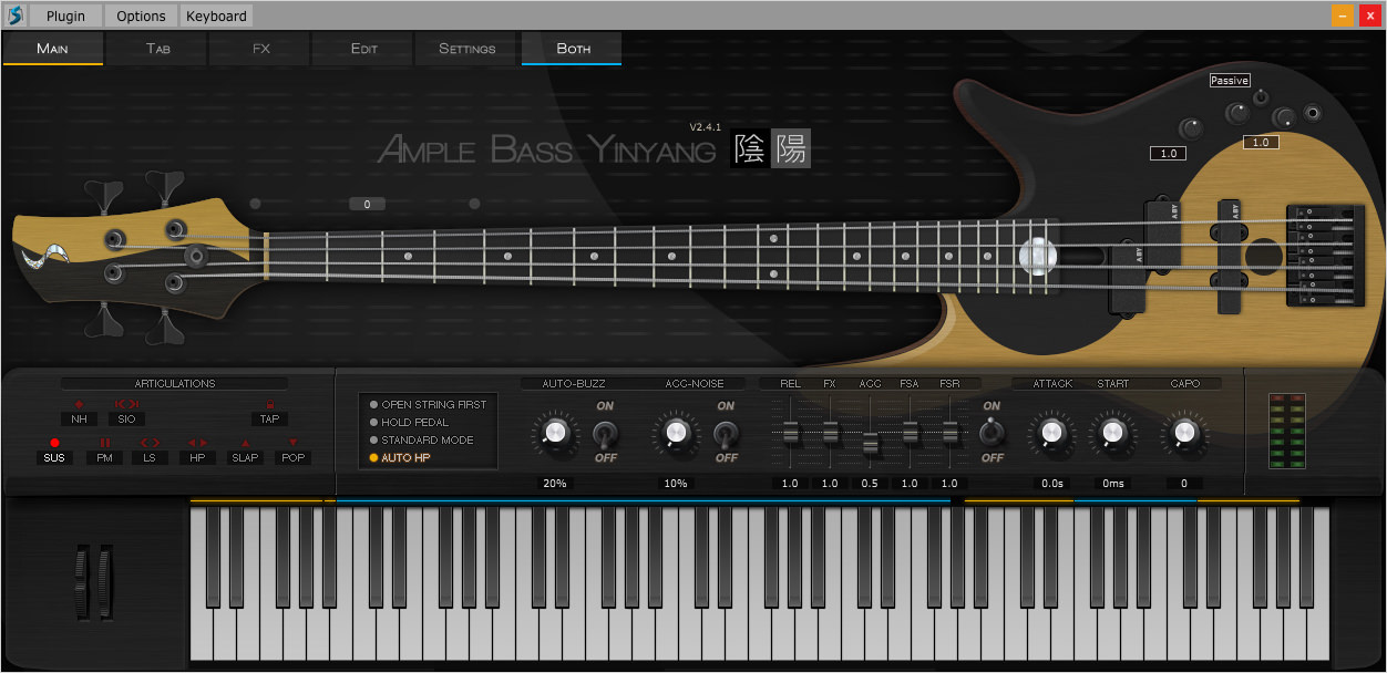 a screenshot of the Ample Sound Ample Bass Yinyang II User Interface