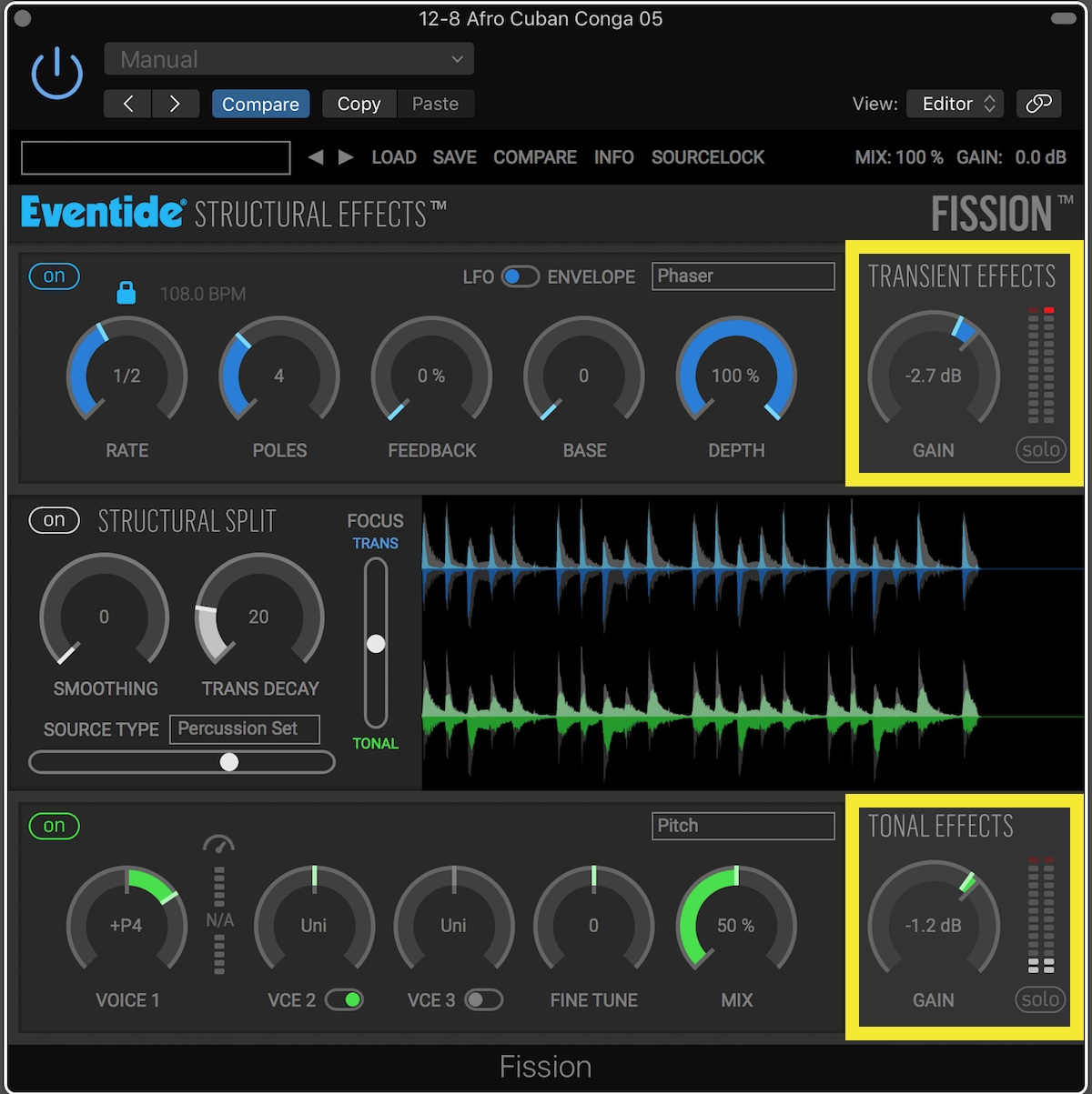 Eventide Fission User Interface Gain Offsets