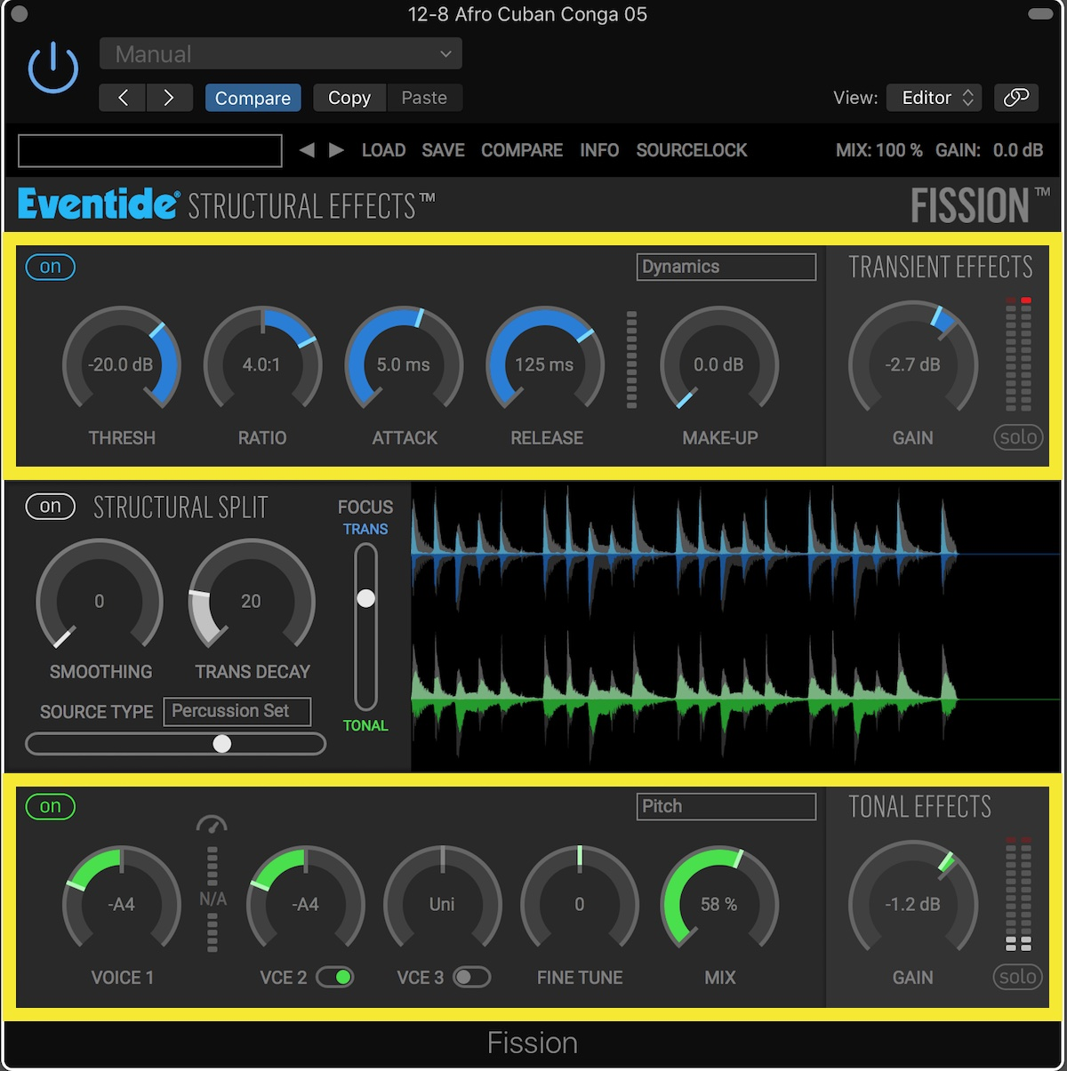 Eventide Fission User Interface Tonal Processing