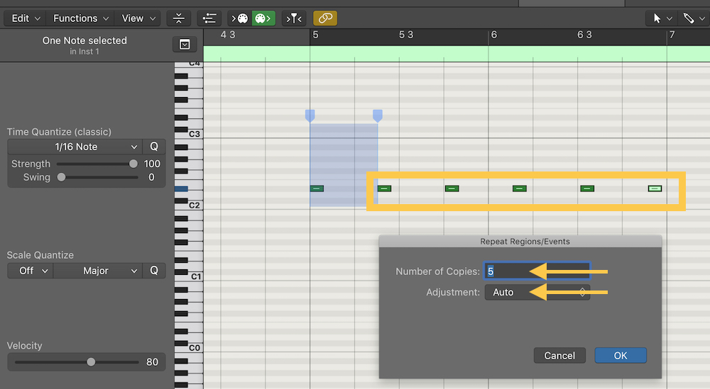 logic pro x note repeat number of copies