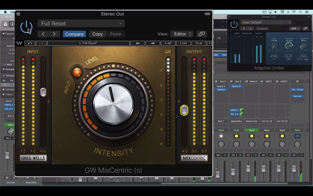 a screenshot of the waves greg wells mixcentric plugin in logic pro x