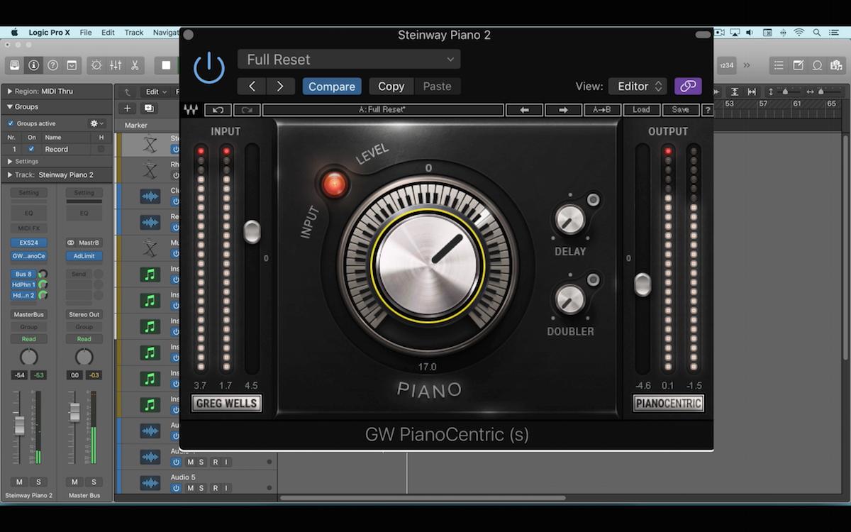 a screenshot of the waves pianocentric plugin in logic pro x