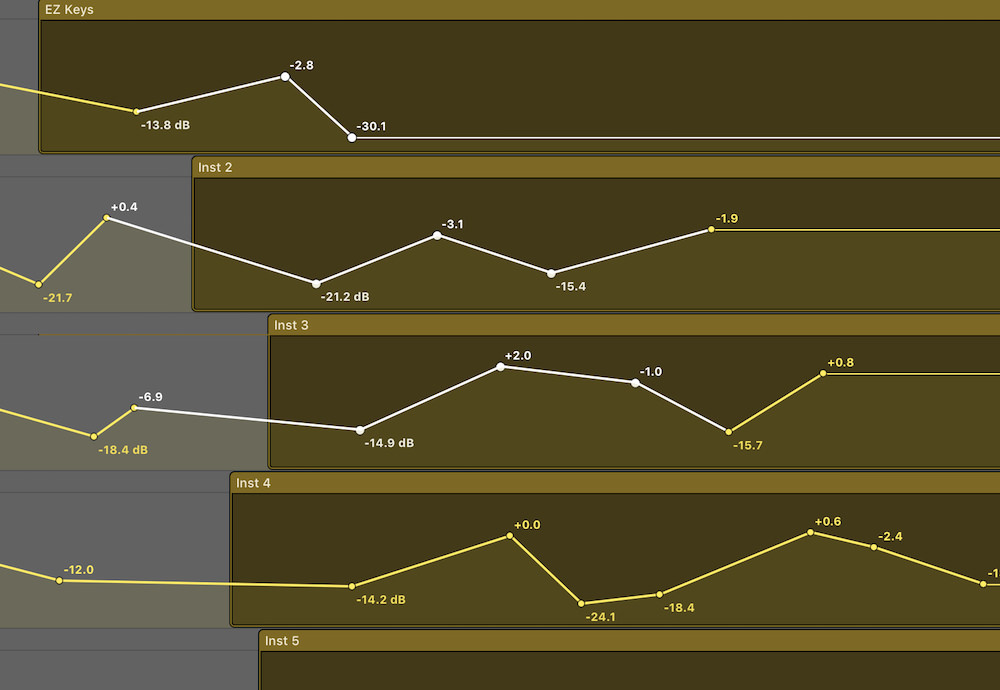 Automation Selection Logic Pro X 01 automation nodes across multiple tracks