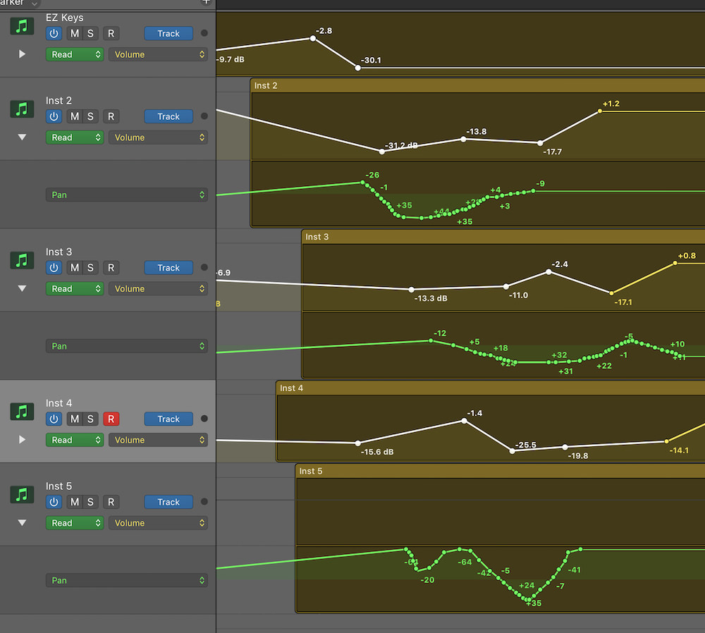 Automation Selection Logic Pro X 02 Multiple types of automation