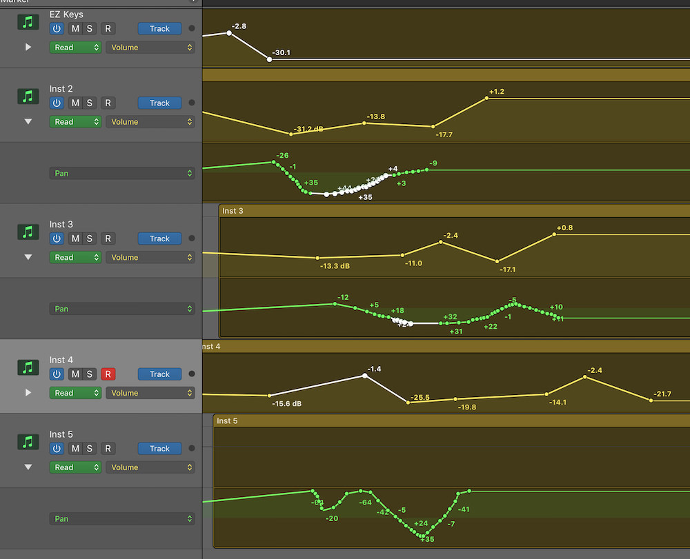 Automation Selection Logic Pro X 03 Multiple types selected