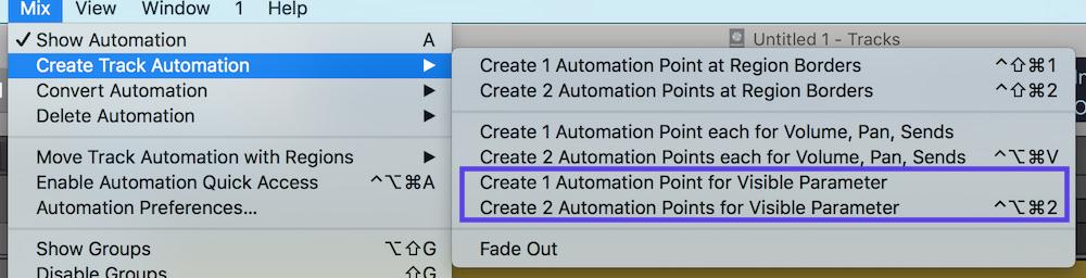 Automation Selection Logic Pro X 04 create automation nodes