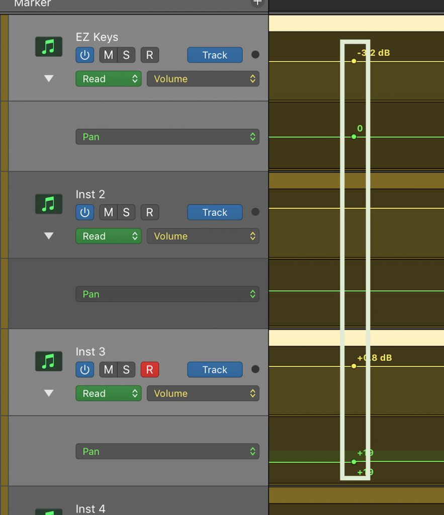 Automation Selection Logic Pro X 05 multiple nodes created