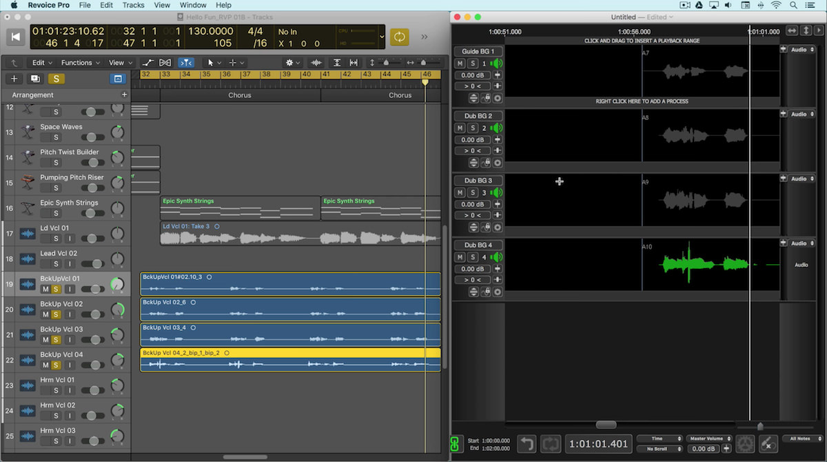 a screenshot of synchro arts revoice pro in logic pro x