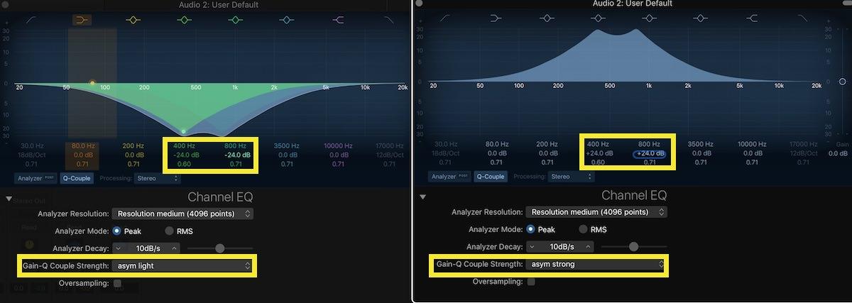 Logic Pro X Channel EQ Magic 02 asym light - asym strong 400hz & 800 hz