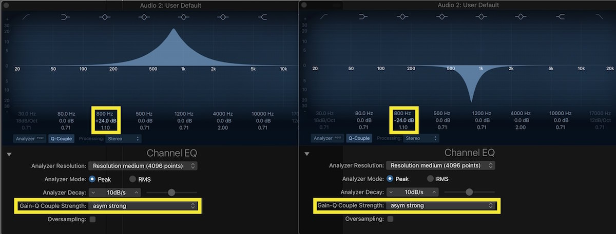 Logic Pro X Channel EQ Magic 03 800 hz asym strong