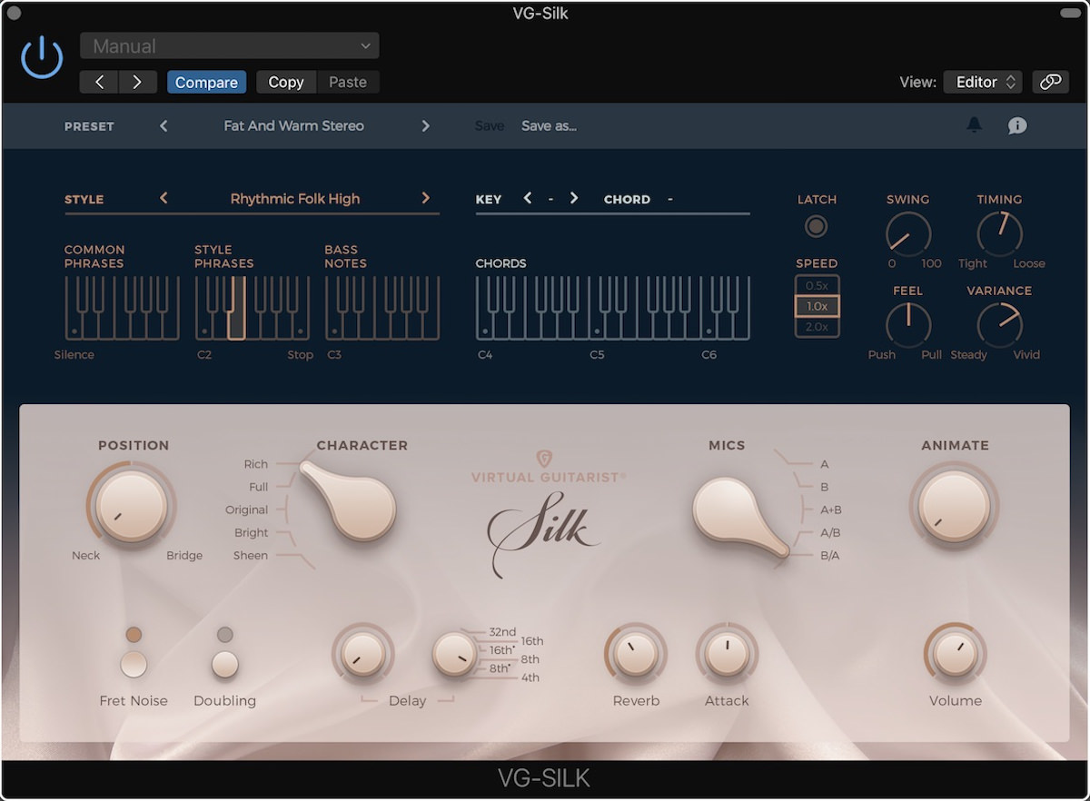 a screenshot of the user interface of the virtual guitarist silk instrument in logic pro x