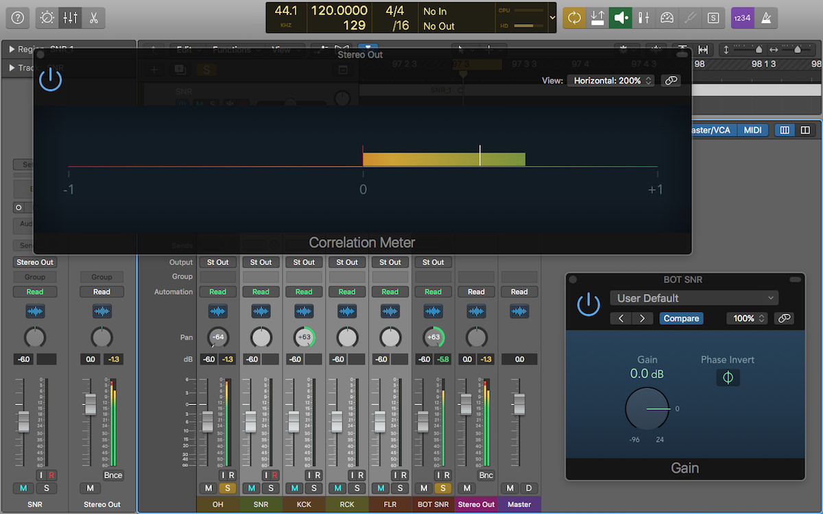 a screenshot of logic pro x with the correlation and gain plugin