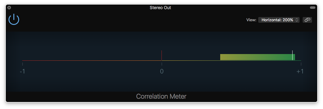 a screenshot of the correlation meter in logic pro x