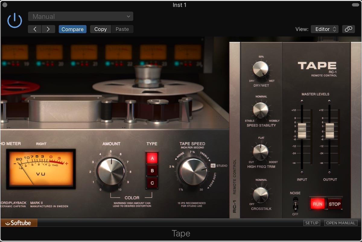 a screenshot of the new tape plugin developed by Softube