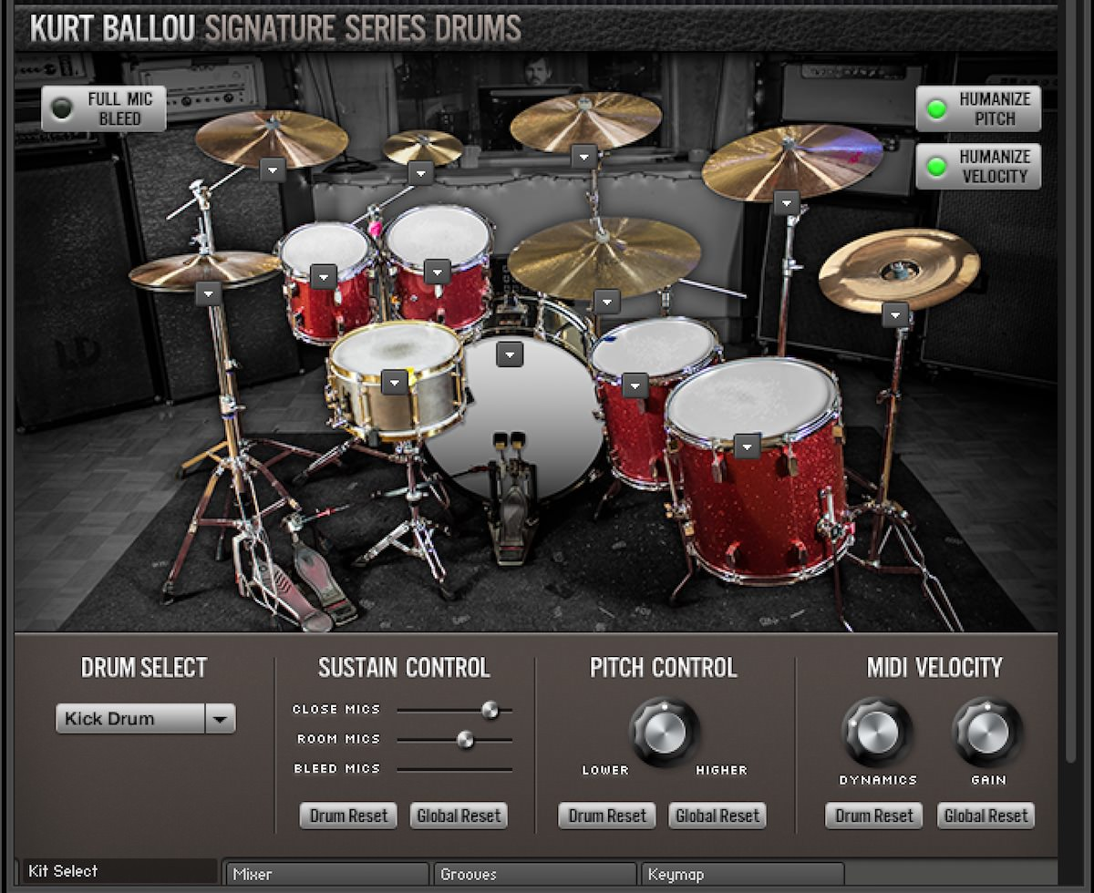 a screenshot of the Kurt Ballou Signature Series Drums Kit Page