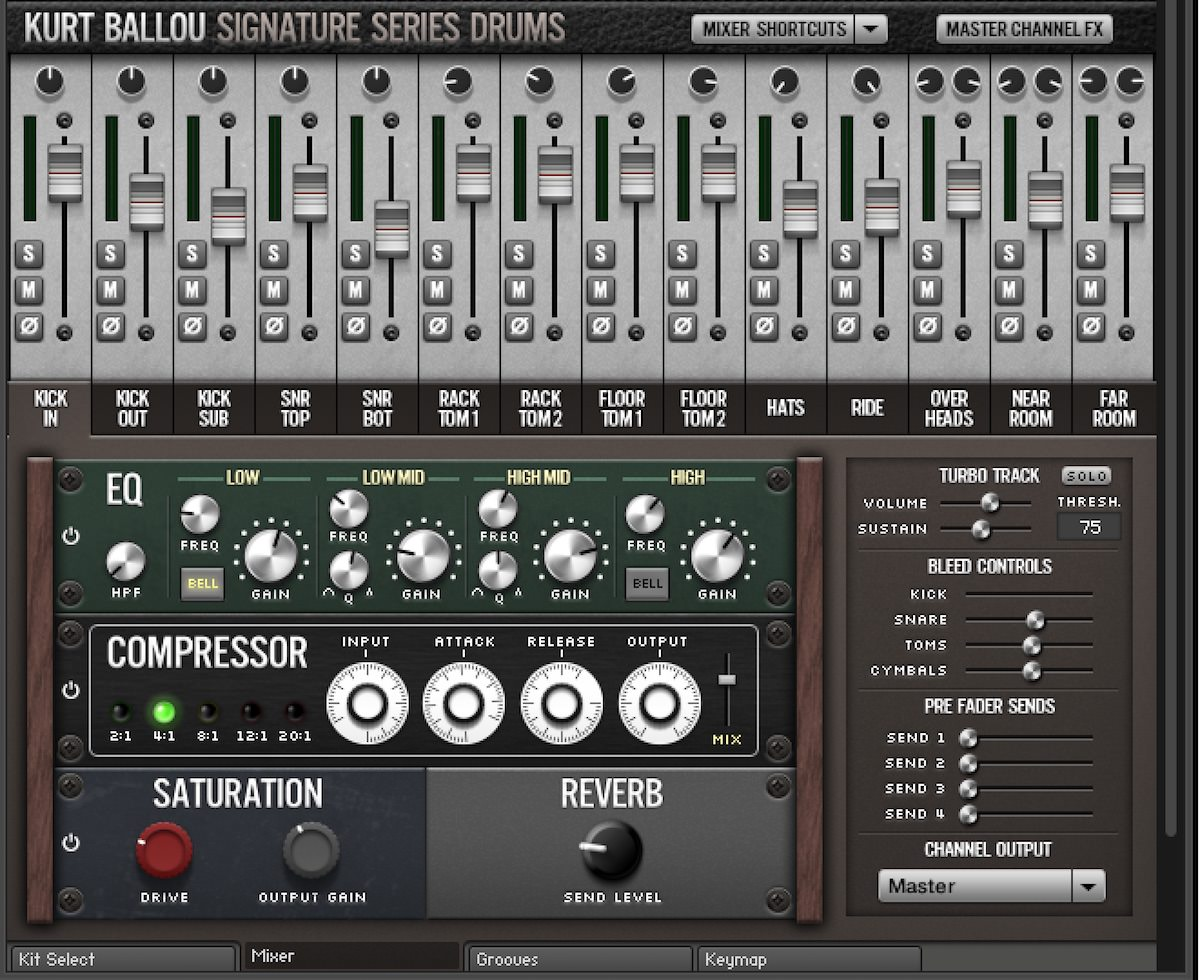 a screenshot of the Kurt Ballou Signature Series Drums Mixer Page