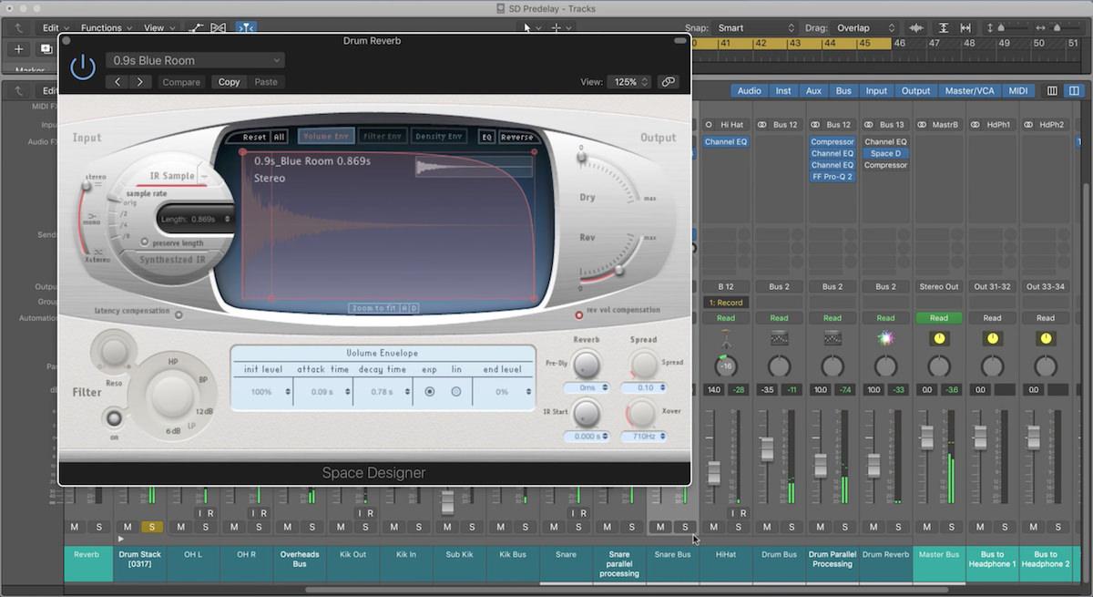 a screenshot of the Space Designer plugin in Logic Pro X