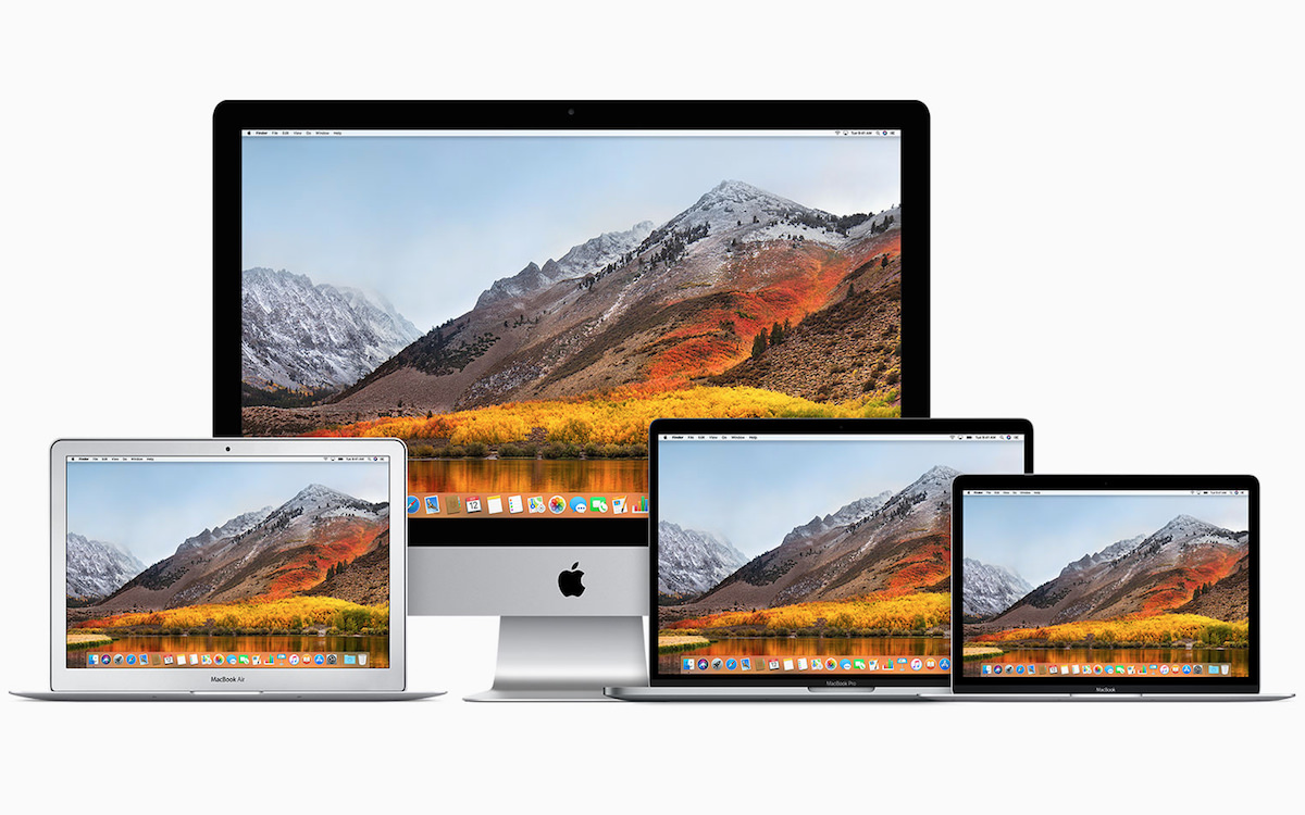 a picture of several apple computers running macOS High Sierra