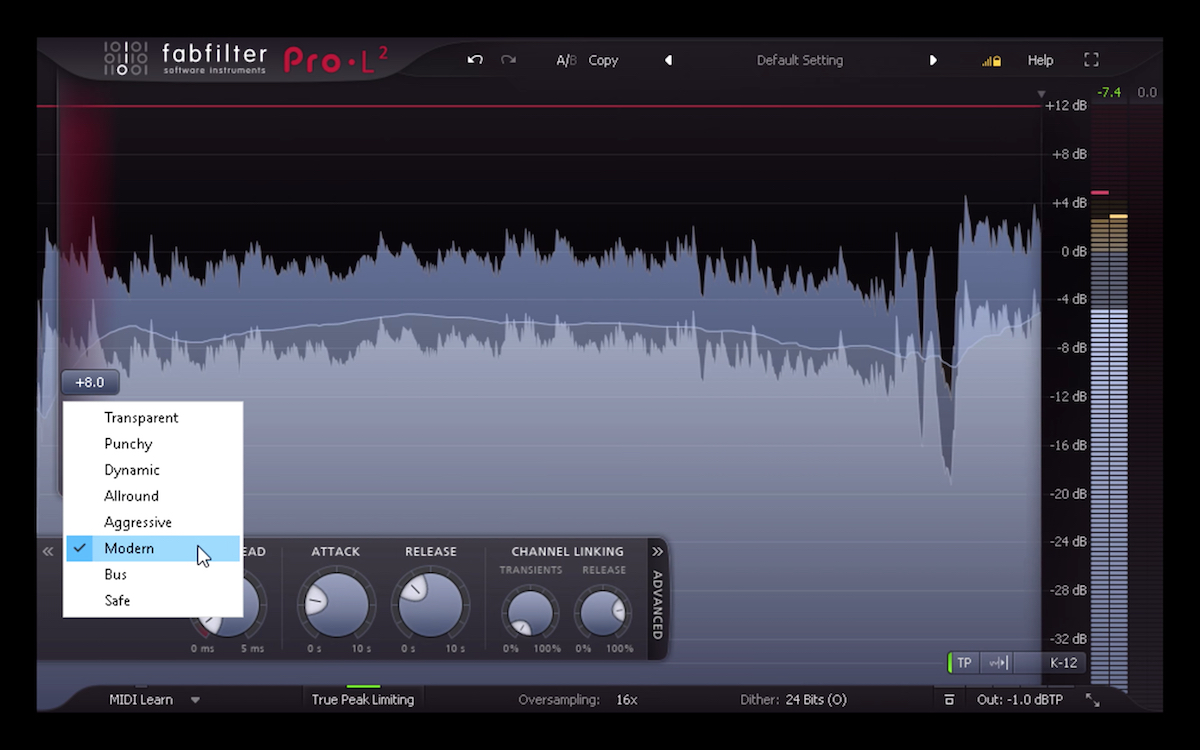 a screenshot of the new fabfilter pro-l2 limiter plugin