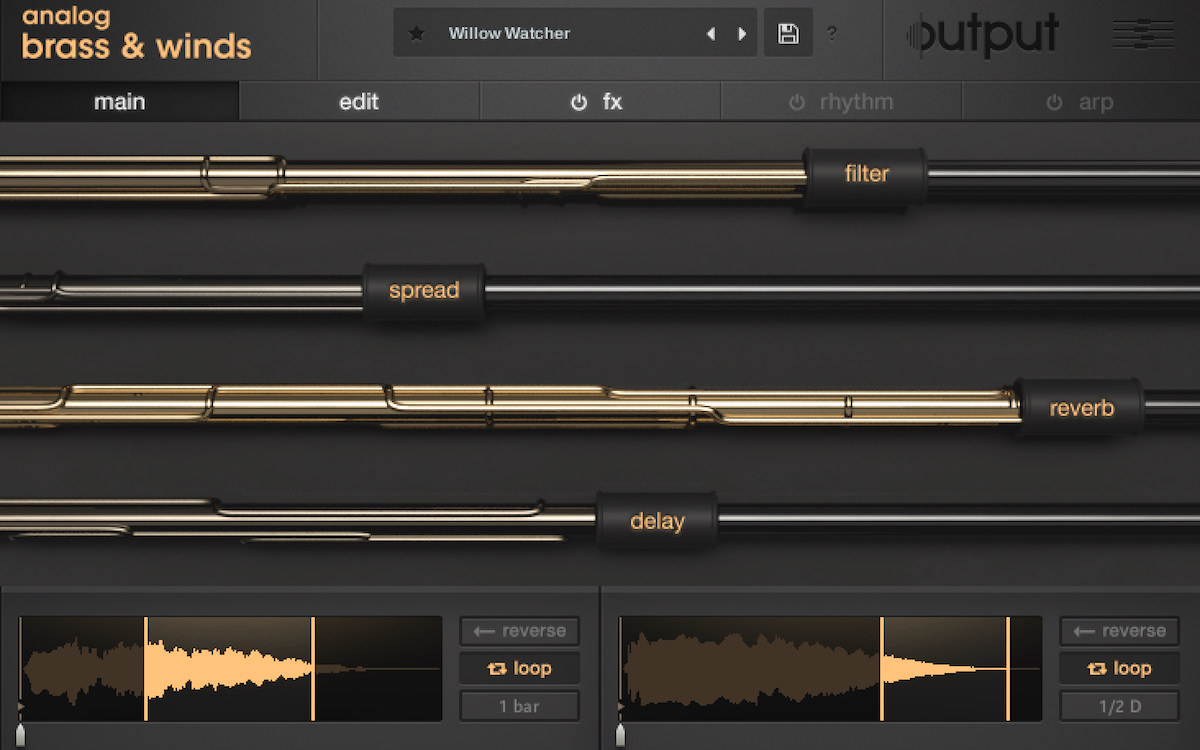 a screenshot of output's new analog brass & winds instrument for Kontakt