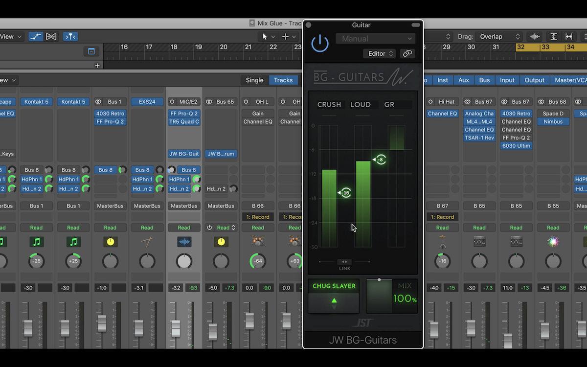 a screenshot of the JST Bus Glue plugin used in Logic Pro X